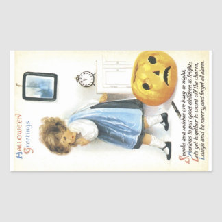 Old Fashioned Hallowe'en Greetings Rectangular Sticker