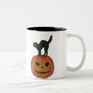 Old Fashioned Halloween Jack-O-Lantern & Black Cat Two-Tone Coffee Mug