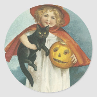 Old Fashioned Halloween Jolly Little Witch Classic Round Sticker