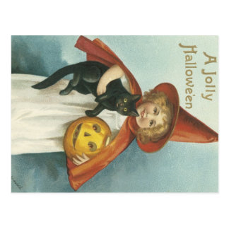 Old Fashioned Halloween Jolly Little Witch Postcard