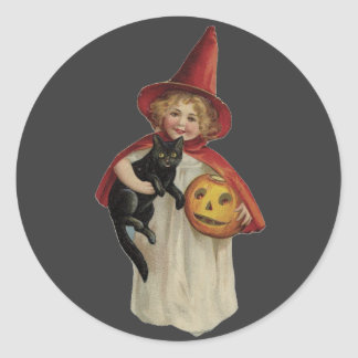 Old Fashioned Halloween Little Witch & Black Cat Classic Round Sticker