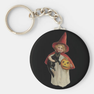 Old Fashioned Halloween Little Witch & Black Cat Keychain