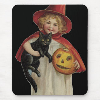 Old Fashioned Halloween Little Witch & Black Cat Mouse Pad