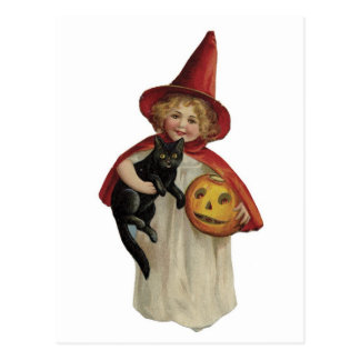 Old Fashioned Halloween Little Witch & Black Cat Postcard