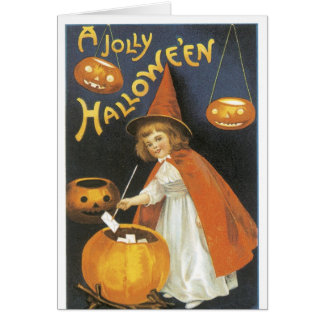Old Fashioned Halloween Little Witch & Cauldron Card