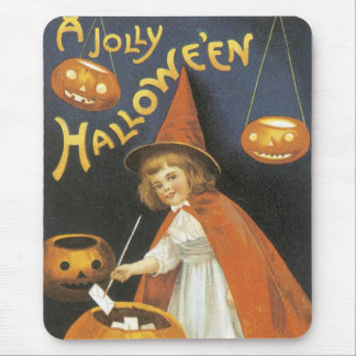 Old Fashioned Halloween Little Witch & Cauldron Mouse Pad