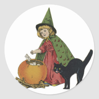 Old Fashioned Halloween Little Witch Classic Round Sticker