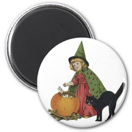 Old Fashioned Halloween Little Witch Magnets