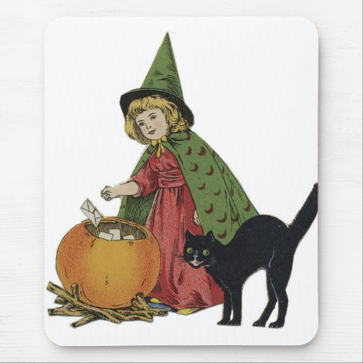 Old Fashioned Halloween Little Witch Mousepads