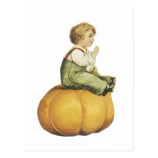 Old Fashioned Halloween Pumpkin & Boy Postcard