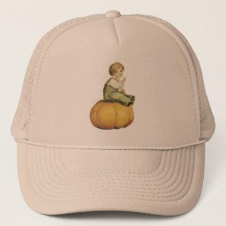 Old Fashioned Halloween Pumpkin & Boy Trucker Hat