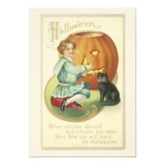 Old Fashioned Halloween Pumpkin Carving Invitation