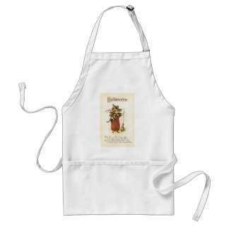Old Fashioned Halloween Witch & Broom Adult Apron