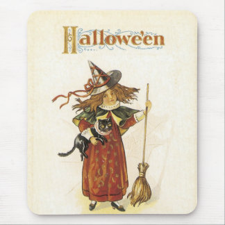 Old Fashioned Halloween Witch & Broom Mouse Pad