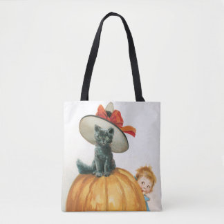 Old-fashioned Halloween, Witch cat Tote Bag