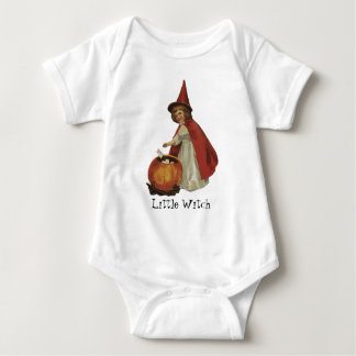 Old Fashioned Halloween Witch Girl Baby Bodysuit
