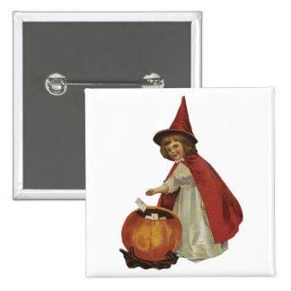 Old Fashioned Halloween Witch Girl Pins