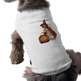 Old Fashioned Halloween Witch Girl Doggie Tee