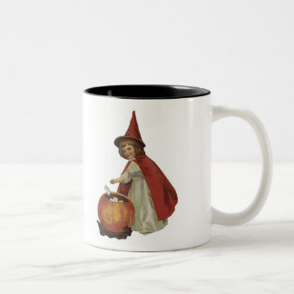 Old Fashioned Halloween Witch Girl Two-Tone Coffee Mug