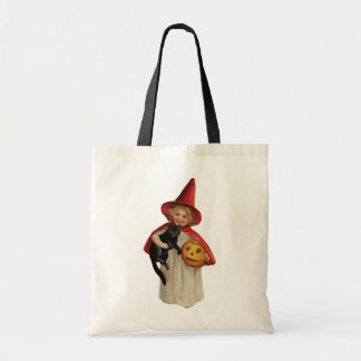 Old-fashioned Halloween, Witch girl with Black cat Tote Bag