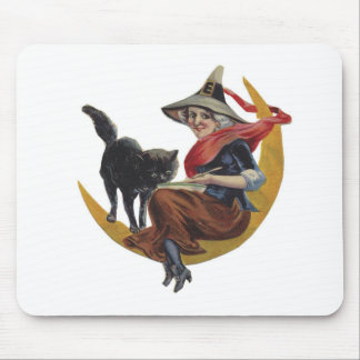 Old Fashioned Halloween Witch Mouse Pad