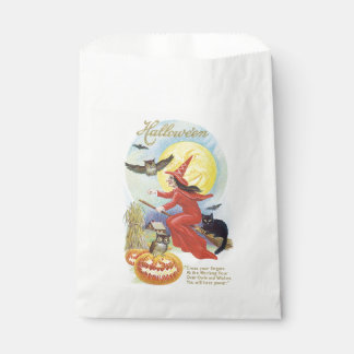 Old-fashioned Halloween, Witch & Owl Favor Bag
