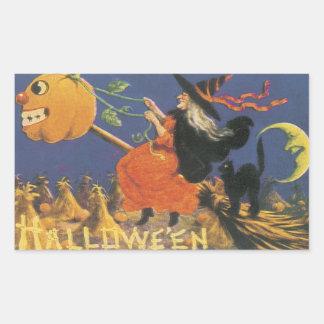 Old Fashioned Halloween Witch Rectangular Sticker