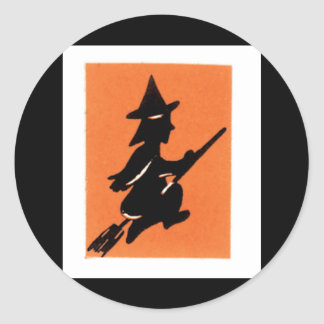 Old Fashioned Halloween Witch Silhouette Round Sticker