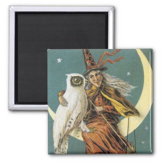 Old Fashioned Halloween Witch & The Moon 2 Inch Square Magnet