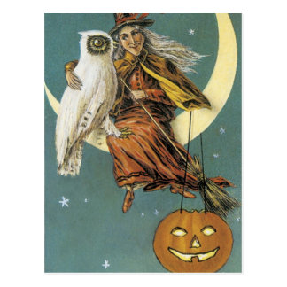 Old Fashioned Halloween Witch & The Moon Postcard