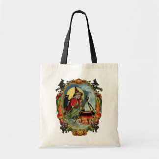 Old-fashioned Halloween, Witch with Black cat Tote Bag