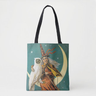 Old-fashioned Halloween, Witch with Owl Tote Bag