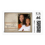 Old fashioned happy holiday USPS stamp template