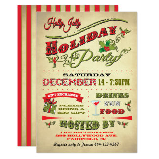 Old Fashioned Holly Jolly Holiday Party Card
