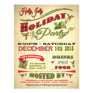 Old Fashioned Holly Jolly Holiday Party Poster Flyer