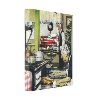 Old Fashioned Home Kitchen Christmas Stretched Canvas Prints