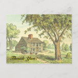 """[ Thumbnail: Old Fashioned Home, """"Thank You!"""" Postcard ]"""