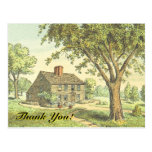 "[ Thumbnail: Old Fashioned Home, ""Thank You!"" Postcard ]"