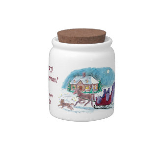 Old Fashioned Horse and Sleigh Christmas Candy Jars