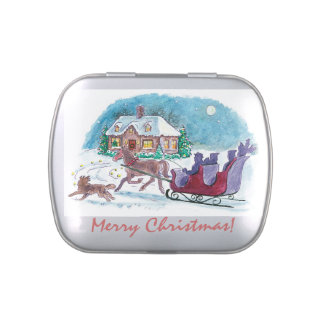 Old Fashioned Horse and Sleigh Christmas Candy Tin