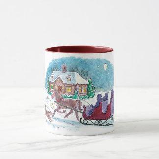 Old Fashioned Horse and Sleigh Christmas Mug