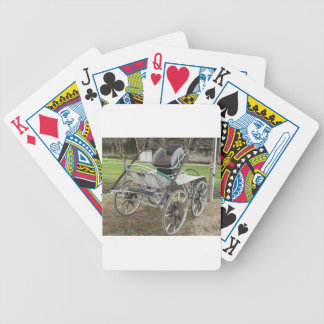 Old-fashioned horse carriage on green background bicycle playing cards