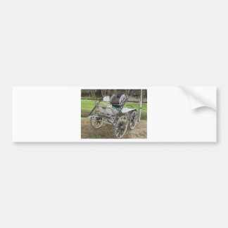 Old-fashioned horse carriage on green background bumper sticker
