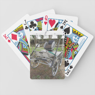 Old-fashioned horse carriage on green grass bicycle playing cards