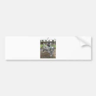 Old-fashioned horse carriage on green grass bumper sticker