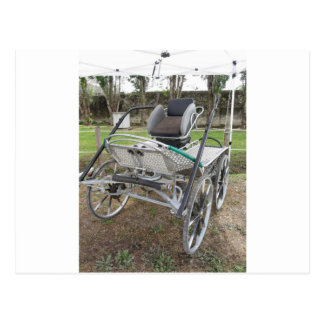 Old-fashioned horse carriage on green grass postcard