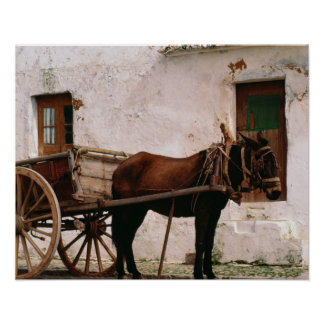 Old-fashioned horse-drawn cart poster