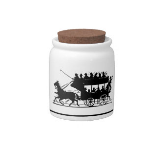 Old-Fashioned Horse-Drawn Double Decker Jar Candy Dishes