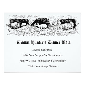 Old Fashioned Hunter's Ball Game Dinner Menu Card
