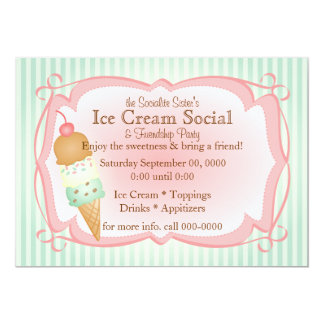 Old Fashioned Ice Cream Social! 5x7 Paper Invitation Card